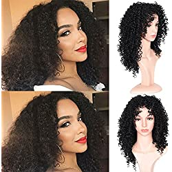 Good Quality Afro Curly Hair Wig For Black Women Short Curly Hair Wigs Natural Color Heat Resistant Kinky Curly with Free Wig Cap(3M17-1B Color)