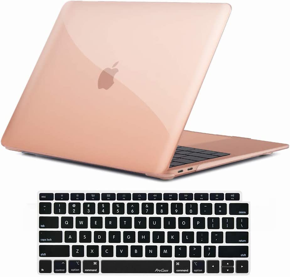 ProCase MacBook Air 13 Inch Case 2020 2019 2018 Release A2179 A1932, Hard Case Shell Cover for MacBook Air 13-inch Model A2179 A1932 with Keyboard Skin Cover -Crystal