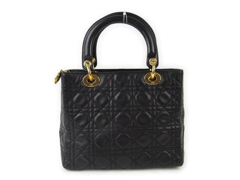 [クリスチャンディオール] Dior レディーディオールトートバッグ ブラック 羊革(ラム) [中古] B07DVP5T4P