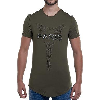 John h Camiseta para Hombre MC Paris Relief Kaki TSJH366K Caqui M ...