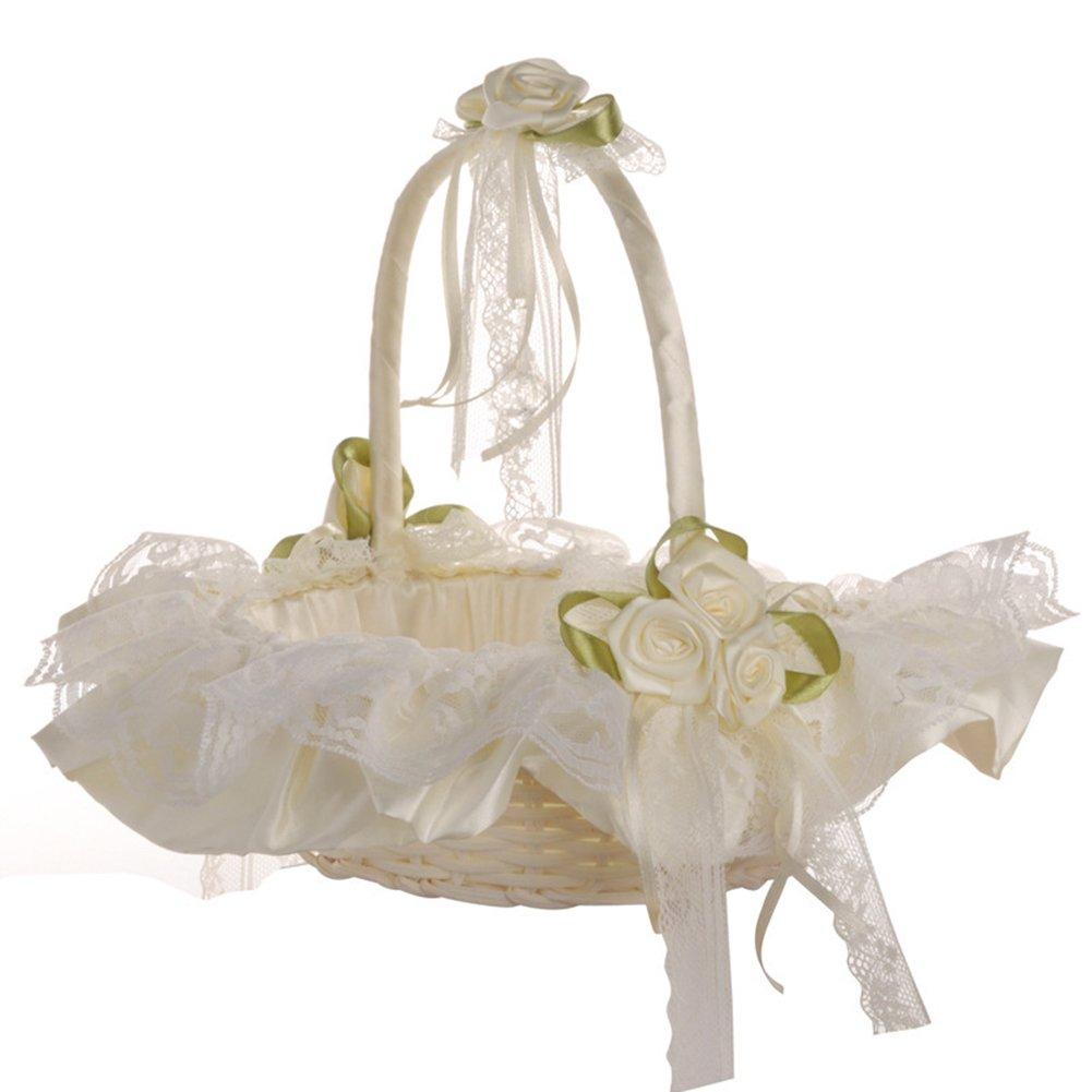 SHZONS Wedding Flower Basket, Bamboo Storage Basket Organizer Arrangement,Double Lace Trim Satin Bow Rhinestone Decor for Wedding Ceremony Party Anniversary,8.66×9.06''