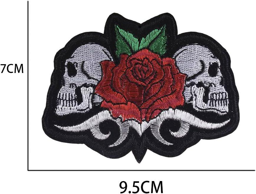 huixun rosa calavera pegatinas parche hierro en parche bordado parches para ropa Llaveros 5 piezas: Amazon.es: Hogar