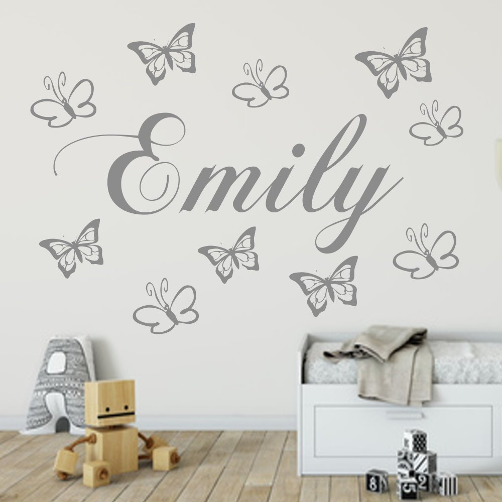 Wandtattoo AA129 NAMEN und Schmetterling Kinderzimmer +personalisiert++