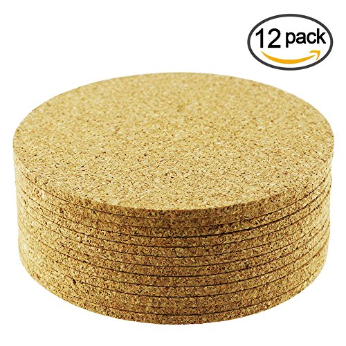 Cork Bottom Coaster (Yexpress 12pcs 4 Inch Round Cork Bar Coasters For Drink Board Bottom, Absorbent and Reusable)
