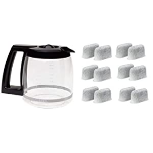 Cuisinart DCC-1200PRC 12-Cup Replacement Glass Carafe, Black and Everyday 12-Pack Replacement Charcoal Water Filters for Cuisinart Coffee Machines Bundle