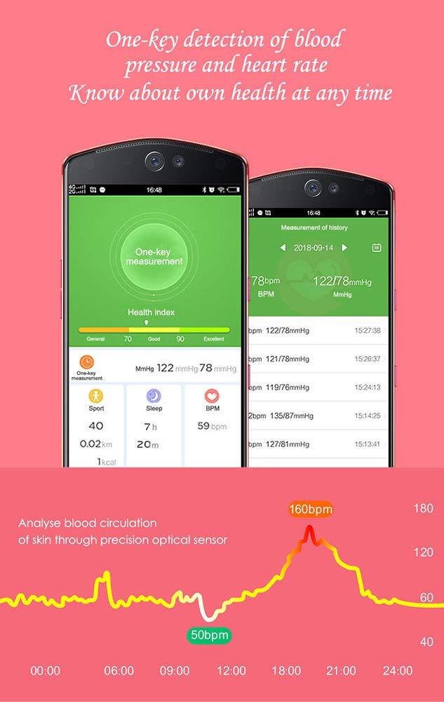 YQG Smart klocka fitnessmätare för kvinnor, [FULL pekskärm] Vattentät pulsmätare BP Bluetooth smartklocka, sömnövervakning stegräknare kalori stegräknare samtal SMS a