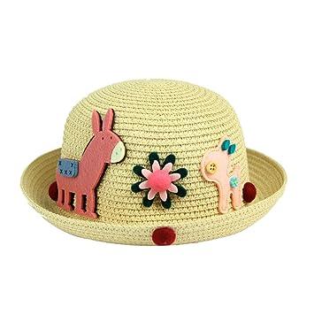 b4aa8e6151756 YXINY Viseras Niños Y Niñas 3-6 Años De Edad Sombrero De Paja Bombín Bebé  Primavera Y Otoño Sombrero para El Sol  Amazon.es  Jardín