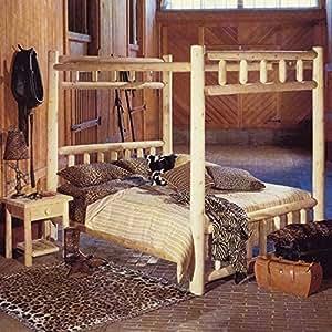 White Cedar Log Style Canopy Bed (Full)