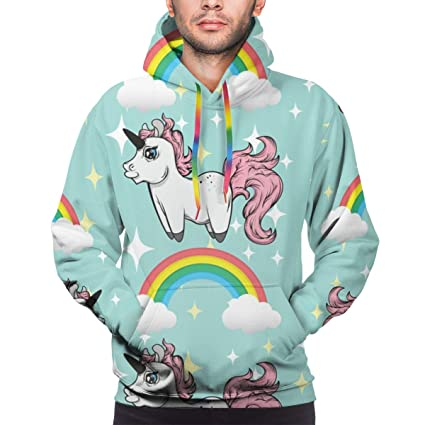 Fitnessmode Damenmode Womens Men 3D Unicorn Print Graphic Hoodie Sweatshirt Sweater Pullover Coat Tops