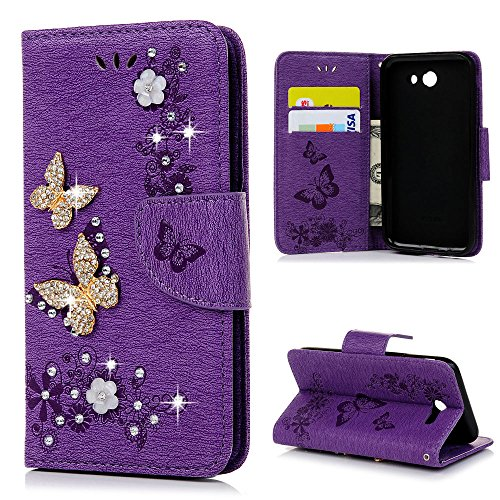 Case for Galaxy J3 Emerge, Express Prime 2, YOKIRIN 3D Bling Crystal Rhinestone Butterfly Lucky Flowers PU Leather Wallet with Stand Card Slot Magnetic Closure for Samsung Galaxy J3 2017, Purple