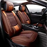 ANKIV 2pcs Universal Fit 3D Surrounded Luxury Waterproof Pu Leather and Breathable Artificial Silk Car Seat Covers Trims with Fixed Lumbar Pillows for Sedan SUV (Front 2pcs Brown)