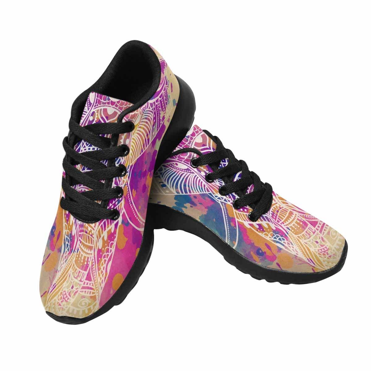 InterestPrint Women's Go Easy Walking Comfort Sports Athletic Shoes Greeting Card Elephant, Frame Animal, US 7