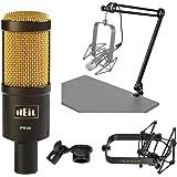 Heil Sound PR40 Large Diameter Dynamic Cardioid Studio Microphone, Black Body, Gold Grill - Broadcast Arm With XLR Cable - Mi