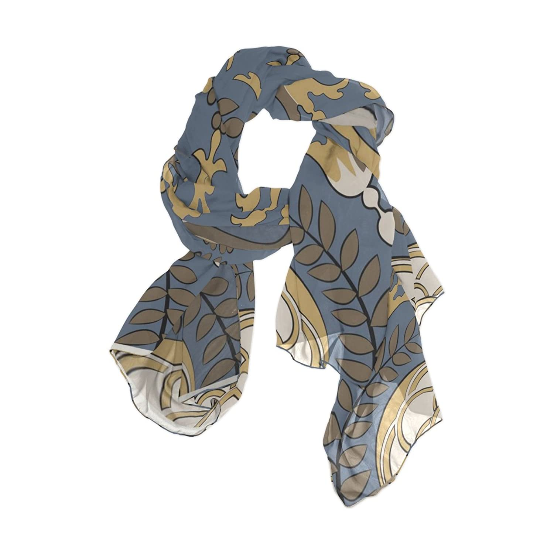 MRMIAN Vintage Printed European Long Lightweight Silk Chiffon Scarf Wrap