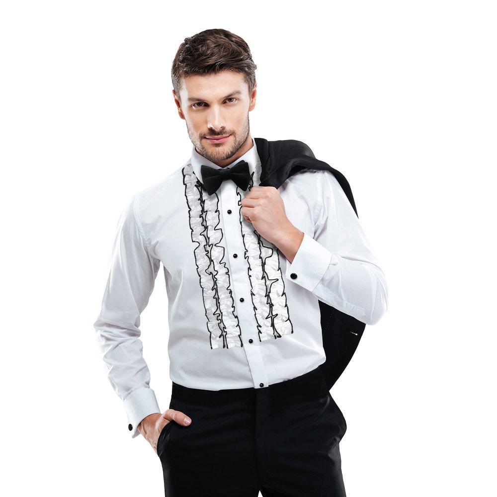 Slim Fit Ruffle Tuxedo Shirt White by Tuxedo Park