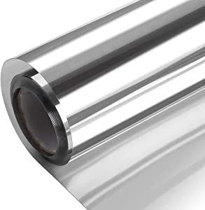 One Way Window Film Non Adhesive, Window Tint for Home Daytime Privacy Mirror Reflective, Anti UV Heat Control Sun Blocking, Self Cling Film for Office Living Room Silver 23.6 x 118 Inch