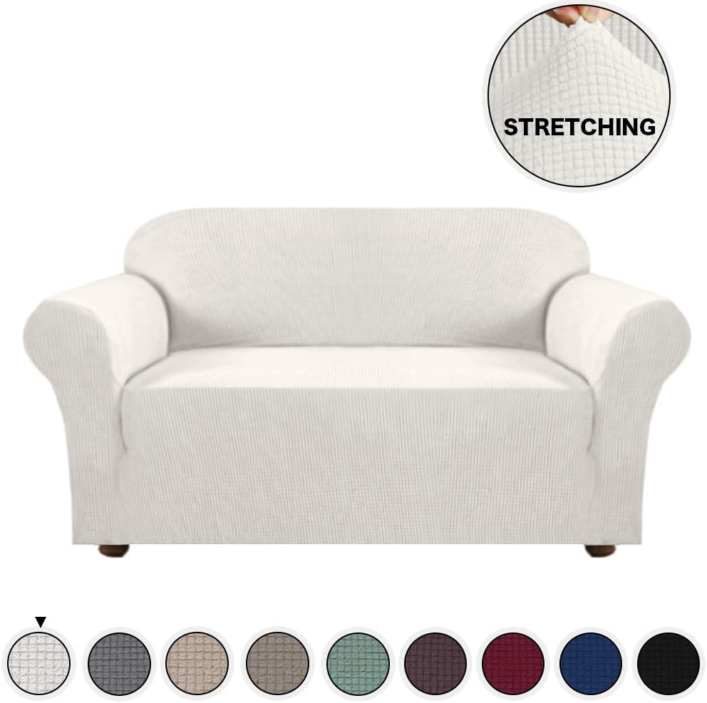 Turquoize High Stretch Loveseat Cover for Living Room Form Fit Stretch Furniture Cover/Protector Anti-Slip Foams, Machine Washable Loveseat Covers for 2 Seater Couch Cover (Loveseat, Ivory)