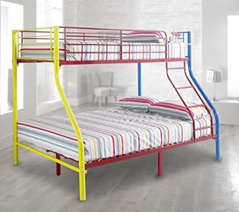 Letto A Castello Triple.Happy Beds Rainbow Triple Sleeper Letto A Castello In Metallo Per