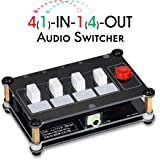 Nobsound Little Bear 4 Way Audio Switch; 3.5mm Audio Switcher; Stereo AUX Audio Selector; Audio Splitter; 4(1)-in-1(4…