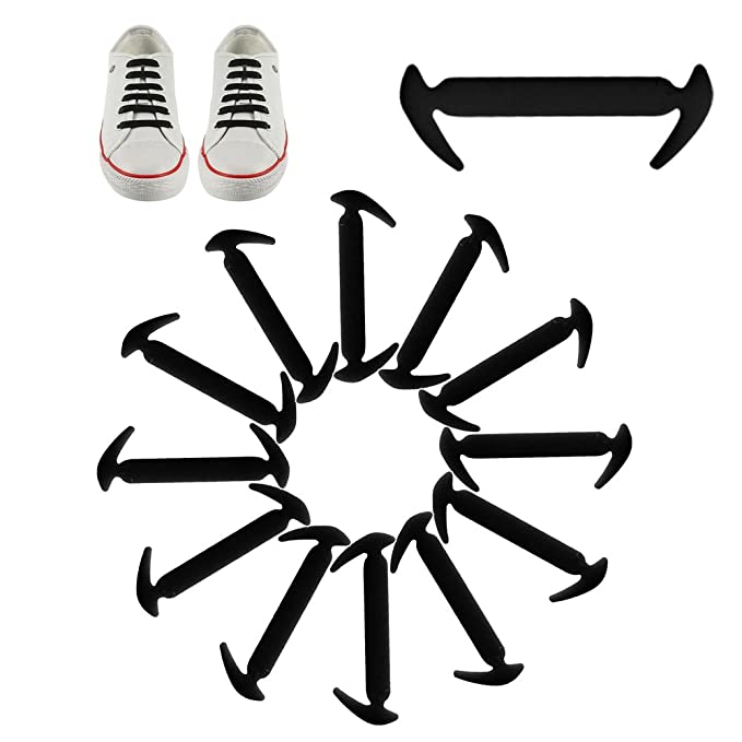 12PCS Lazy Elastic Silicone Shoelaces No Tie Easy Sneakers Running Shoe Laces
