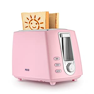 Upgraded Version Lovely Smiley Pattern 2-Slice Toaster 6 Patterns Keep Warm Smart Toast (Pink)