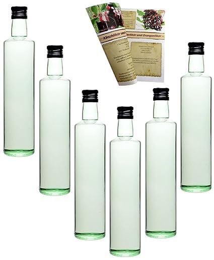 guoveo - 12 botellas de 500 ml con tapón de rosca negro, botellas de vidrio