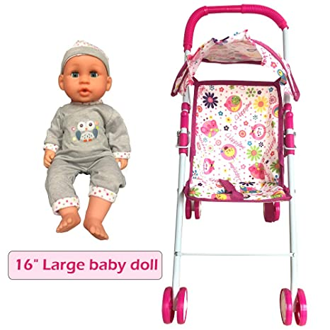 242981d1e Amazon.com: Annie's Collection Baby Doll Stroller with Doll, Foldable with  Basket and Adjustable Hood for Girls Aged About 3 Years Old: Toys & Games