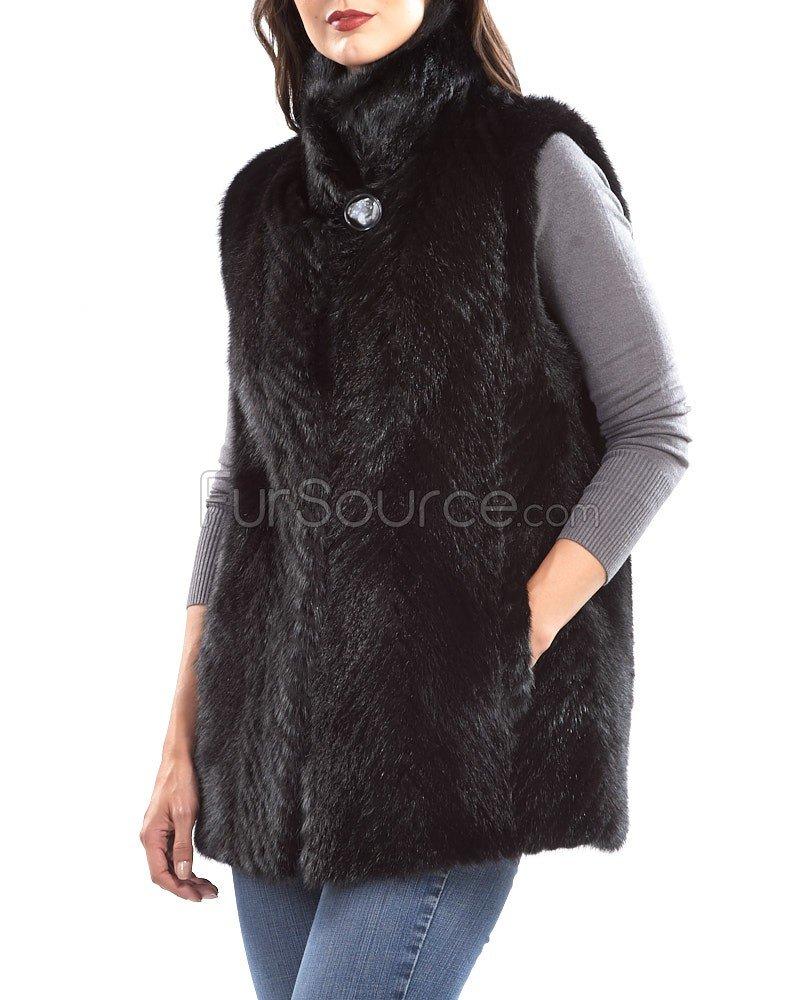 Black Mink Vest with Full Pelt Mink Collar - Large