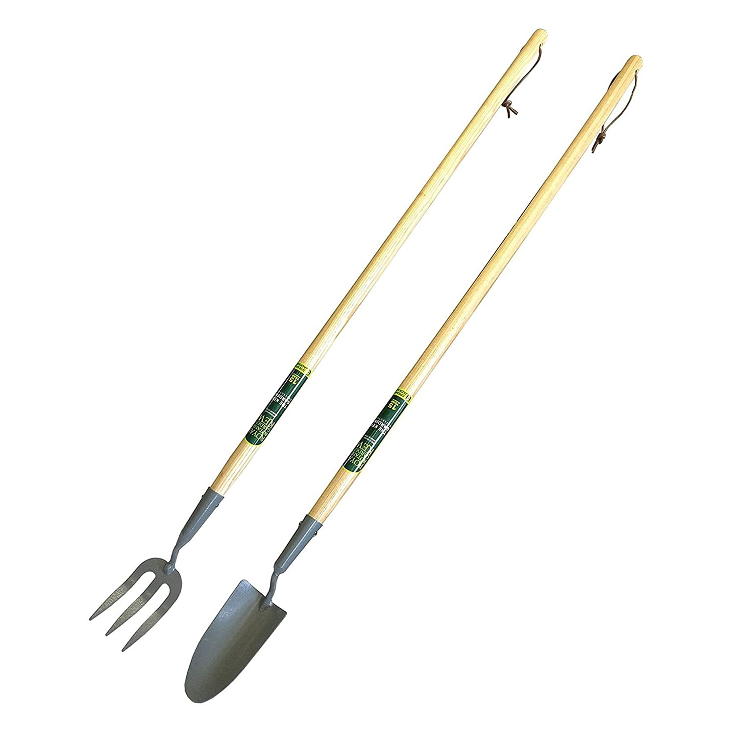 Spear & Jackson® Kew Gardens Collection Carbon Steel Trowel & Weed Fork Set with 40 Inch Handle and Tie Hanging Storage Straps