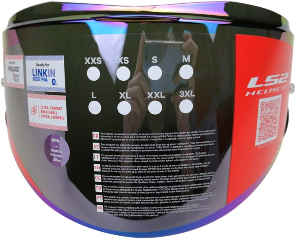 LS2 Valiant II Helmet Visor Unisex-Adult Flip Up Helmets Replacement Helmet Shield Chrome Red