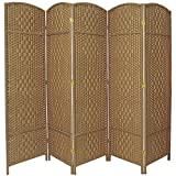 Oriental Furniture 6 ft. Tall Diamond Weave Fiber Room Divider - Natural - 5 Panel