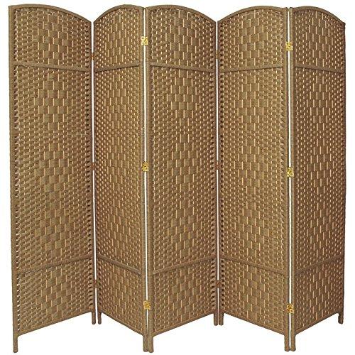 Oriental Furniture 6 ft. Tall Diamond Weave Fiber Room Divider - Natural - 5 Panel