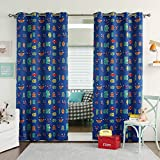Best Home Fashion Room Darkening Monster Print Curtains - Stainless Steel Nickel Grommet Top - Royal Blue - 52''W x 63''L - (Set of 2 Panels)