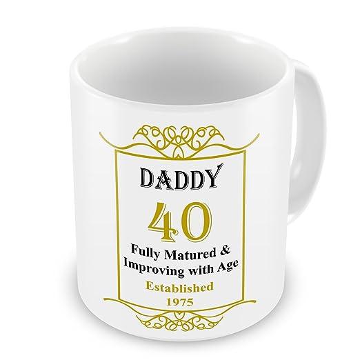 Daddy 40th cumpleaños establecido 1975 años taza - dorado ...