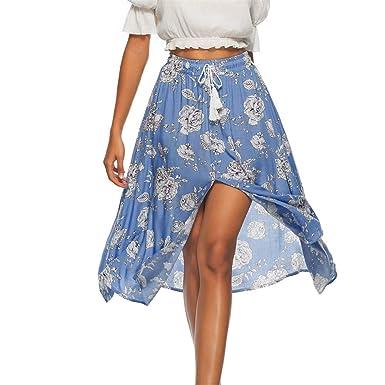 FELZ Falda de Mujer Falda Larga Mujer Las Mujeres de Moda Floral ...