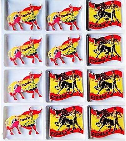 Lote expositor x 12 imanes Collection Traditions España corrida Toro bandera Flamenco Español en relieve 2 modelos: Amazon.es: Hogar