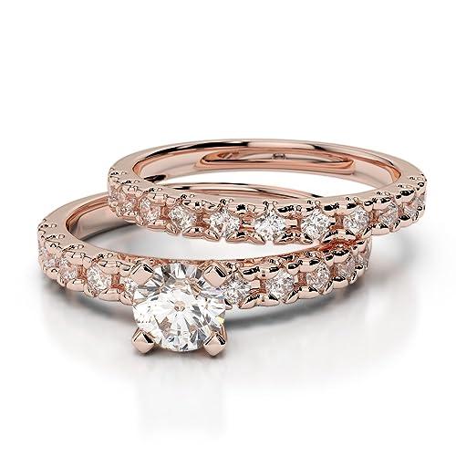 Oro rosa/oro blanco/oro amarillo/Platinum Diamond Juego de Anillos de Boda agdr-1144-ih: Amazon.es: Joyería