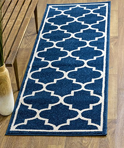 Modern Trellis Transitional Rug Blue & Ivory White, 2' 7