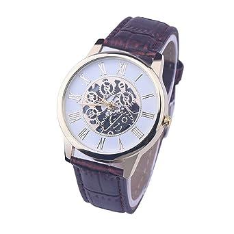 HULKY - Reloj de pulsera analógico para hombre y mujer, correa de piel Roma,