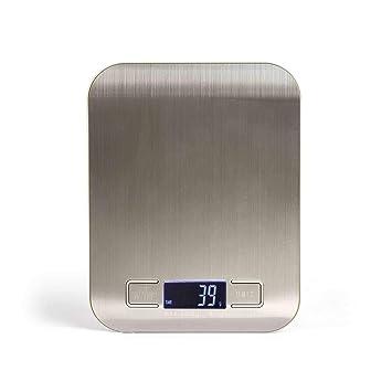 Báscula de cocina de acero inoxidable con función de tara hasta 5 kg (báscula digital