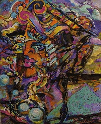 Promenade Oil Painting - Jazz - Promenade avec clarinette (100x81 cm) - Painting by Vladimir SHESTAKOV