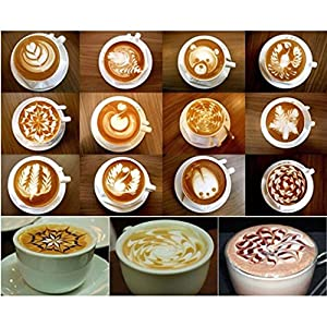 16pcs Plastic Coffee Latte Garland Mould Printing Model Template Pad Duster Spray Cappuccino Fancy Coffee Stencils Model by oshide