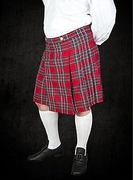 61cfbd2e9bbb0e Kilt Rouge avec plumes Tartan écossais Jupe style Moyen-Âge Viking ...