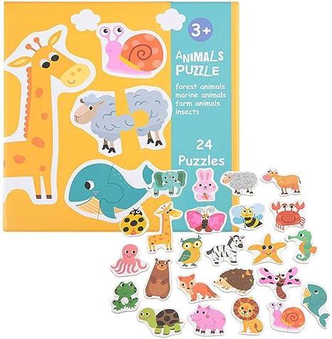 Puzzle Toys para niños, juego de cartas de rompecabezas para niños en edad preescolar, juguetes educativos y juegos de mesa animal: Amazon.es: Juguetes y juegos
