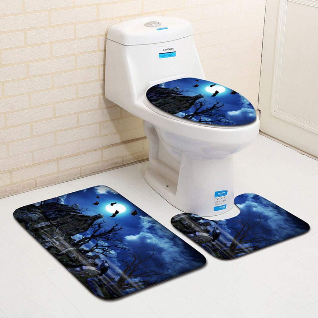 Nesix Halloween Bath Mat - Bathroom Rug Carpet - Halloween Spider Black Widow Toilet Seat Cover - Non-Slip Bathroom Rug Shag Shower Mat - Carpet Mats for Tub, Shower, and Bath Room (E)