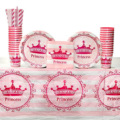 Pink Princess Birthday Party Supplies Pack for 16 Guests: Straws, Dinner Plates, Luncheon Napkins, Table Cover, and Cups -