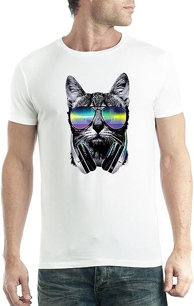 avocadoWEAR DJ Gato Auriculares Hombre Camiseta XS-5XL: Amazon.es: Ropa y accesorios