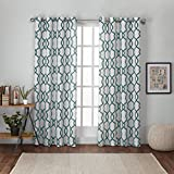 Exclusive Home Curtains Kochi Linen Blend Grommet Top Window Curtain Panel Pair, Teal, 54x84
