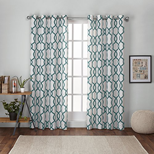 Exclusive Home Curtains Kochi Linen Blend Grommet Top Window Curtain Panel Pair, Teal, 54×108