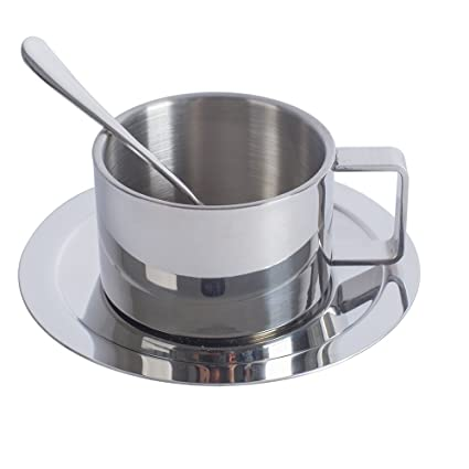 9a06fce1074 Double Walled Coffee Mug Stainless Steel Espresso Cups with Saucer and  Spoon 200ml/6.8 oz